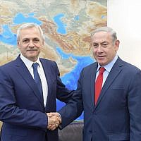 Prime Minister Benjamin Netanyahu meets on April 26, 2018 with Romanian Chamber of Deputies President Liviu Dragnea (Amos Ben Gershom / GPO)