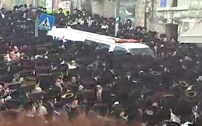 The funeral procession in Jerusalem on April 5, 2018, for a one-month old baby who drowned in a hotel jacuzzi in Ashdod. (Screen capture/Walla)