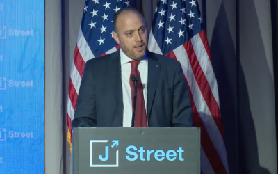 The PLO's envoy to Washington Husam Zomlot addresses J Street's 2018 national conference on April 16, 2018, at the Omni Shoreham Hotel in Washington, DC. (Screen capture)