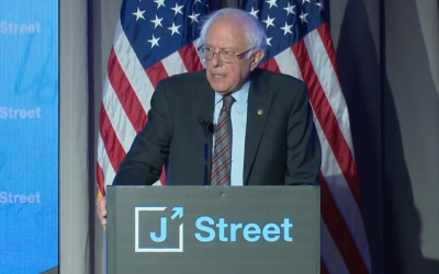 Senator Bernie Sanders (D-Vermont) addresses J Street's 2018 national conference at the Omni Shoreham Hotel in Washington, DC on April 16, 2018 (Screen capture).