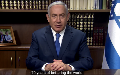 Prime Minister Benjamin Netanyahu delivers a video message on Israel's 70th anniversary (Screenshot)