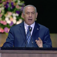 Prime Minister Benjamin Netanyahu speaks at the opening of Israel's 70th anniversary celebrations, at Mount Herzl in Jerusalem, April 18, 2017 (GPO screenshot)