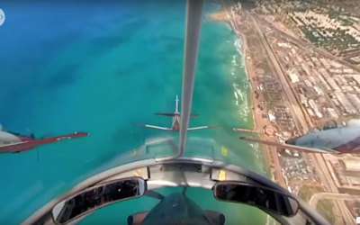In the skies above Israel: The view from the cockpit of an IAF pilot on an Independence Day flyover, April 19, 2017 (IAF)