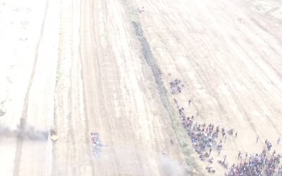 Screenshot from IDF video showing Palestinians at the Gaza-Israel border fence, April 27, 2018 (IDF video)