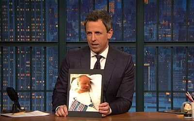 "Screen capture from video of Seth Meyers telling the story of son's birth on on his NBC show ""Late Night with Seth Meyers,"" April 9, 2018  (YouTube)"