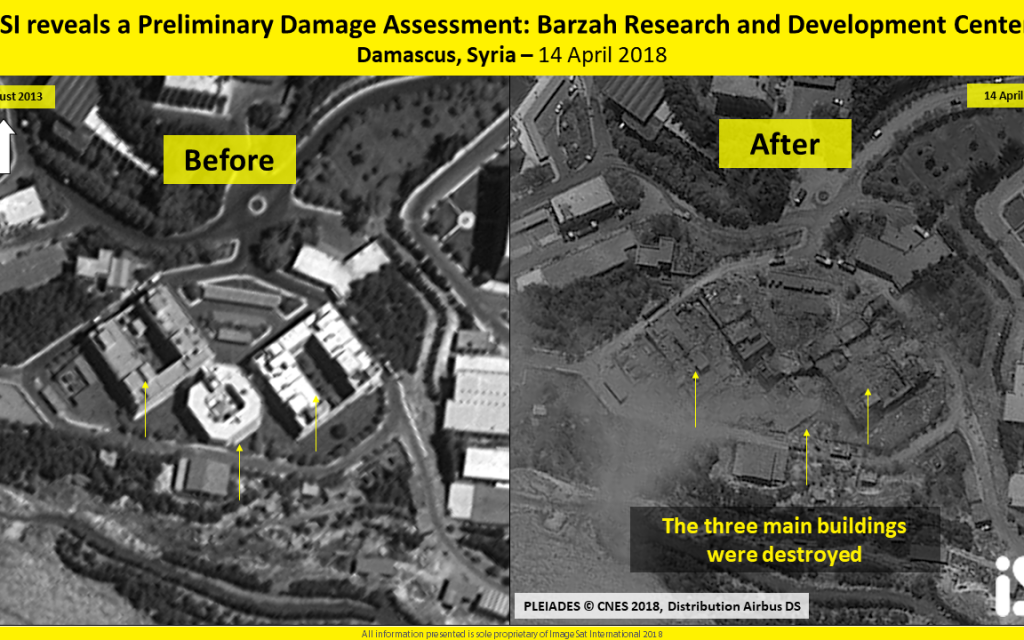 A satellite image shows three buildings in the Barzeh research facility near Damascus, Syria, allegedly used to develop chemical weapons, standing in 2013 (L) and destroyed after a strike by the US, Britain and France on April 14, 2018. (ImageSat International)