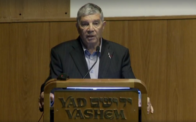 Yad Vashem Chairman Avner Shalev addresses the audience at an event in Jerusalem on Tuesday, April 10, 2018. (Screen capture: Facebook)