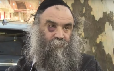 Menachem Moskowitz, 52, who was assaulted and choked on his way back from Shabbat prayers  in the Crown Heights neighborhood in Brooklyn, New York, on April 23, 2018. (Screen capture: YouTube)