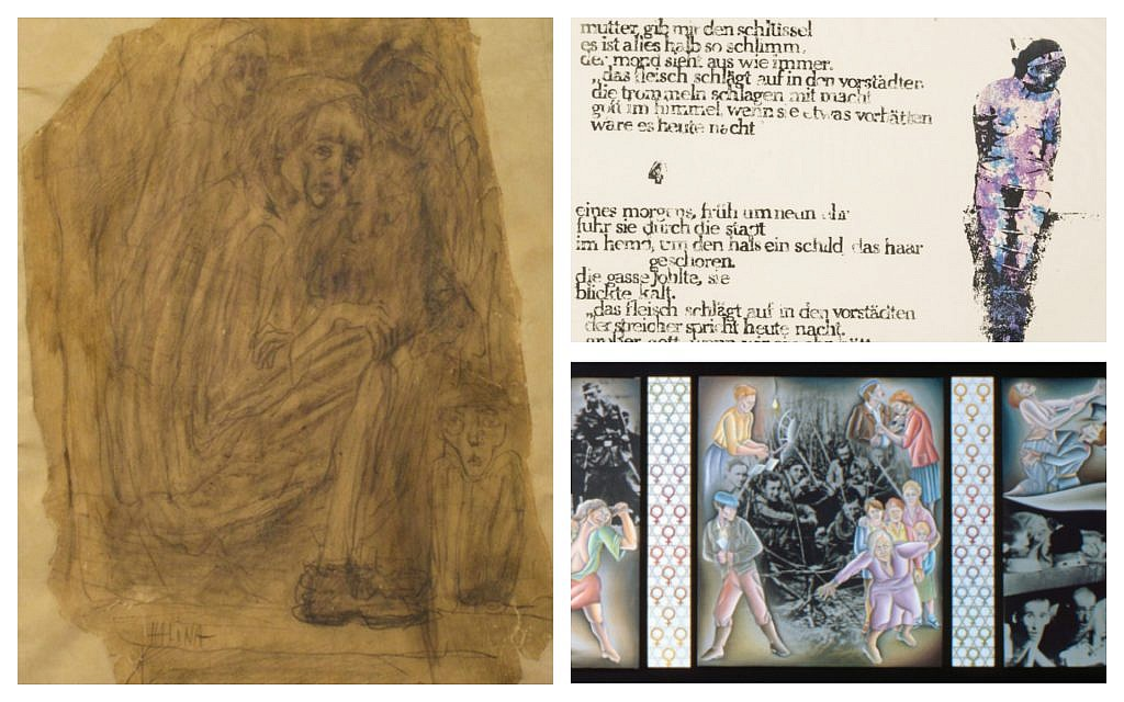 Clockwise from upper right: 'The Ballad of Marie Sanders, The Jew's Whore,' by Nancy Spero; Half-Scale Study for Double Jeopardy from Holocaust Project—Studies/Ancillaries, by Judy Chicago and Donald Woodman; 'Women in Birkenau Camp,' by Halina Olomucki, drawn secretly while imprisoned in 1945. (Courtesy Ronald Feldman Gallery)
