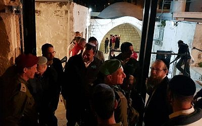 Jewish worshipers at Joseph's Tomb in the West Bank city of Nablus early Thursday, April 5, 2018. (Roi Hadi)