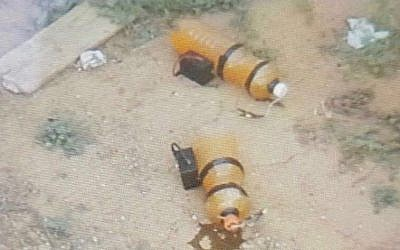 Improvised explosives that the army says were planted along the Gaza security fence by three Palestinian infiltrators on April 8, 2018. (Israel Defense Forces)