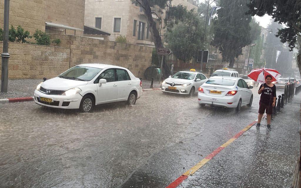 A rainstorm in Jerusalem, April 25, 2018. (Stuart Winer/The Times of Israel)