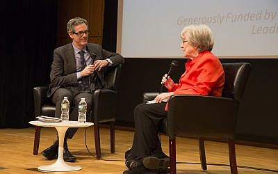 Ruth Wisse in conversation with David Myers at the Center for Jewish History, April 26, 2018. (Lauren Silberman)