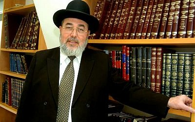 Rabbi Eliyahu Abergel, head of Jerusalem's rabbinical court. (Dudu Greenspan/FLASH90)