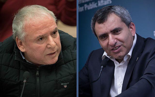 Coalition whip MK David Amsalem (left) and Minister Ze'ev Elkin (Flash90)