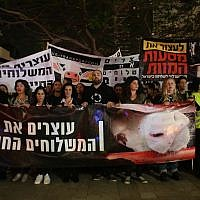 Protesters demonstrate in Tel Aviv against live shipments of animals for fattening and slaughter in Israel, April 28, 2018. (Adi Avikzer)
