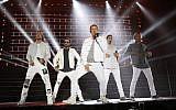 The Backstreet Boys performing in Rishon Lezion on April 22, 2018. (courtesy Orit Pnini)