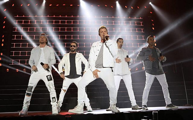 The Backstreet Boys performing in Rishon Lezion on April 22, 2018. (courtesy Orit Pnini)