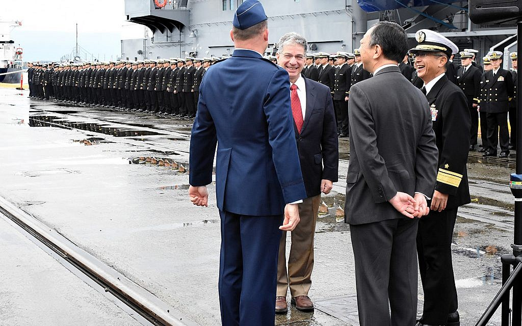 Anchorage Alaska mayor Ethan Berkowitz  greets commanders of the Japanese Maritime Self-Defense Force on a goodwill tour in September 2017. (Courtesy City of Anchorage)