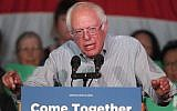 Senator Bernie Sanders (D-VT) speaks to a crowd of supporters at a Democratic unity rally at the Rail Event Center on April 21, 2017, in Salt Lake City, Utah. (George Frey/Getty Images via JTA)