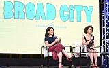 Abbi Jacobson, left, and Ilana Glazer speaking in Beverly Hills, California, July 25, 2017. (Vivien Killilea/Getty Images for Viacom)