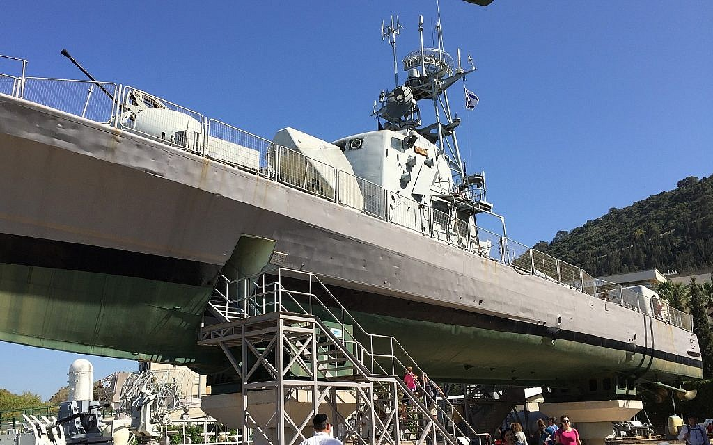 One of the 'Cherbourg boats,' the INS Mitvach, on display at Haifa's Clandestine Immigration and Navy Museum. (Amanda Borschel-Dan/Times of Israel)