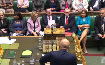 Illustrative: Labour leader Jeremy Corbyn (3rd from right) during a debate in the UK parliament over anti-Semitism within the party. (Screen capture: Parliamentlive.tv)