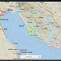 Site of earthquake near Bushehr, Iran on April 19, 2018. (Screen capture: USGS National Earthquake Information Center)