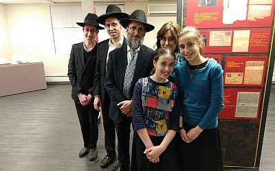 Yehuda and Breindy Gelbfish of Lakewood, New Jersey, who visited the Amud Aish Memorial Museum recently with four of their 10 children, loaned a number of items that belonged to Yehuda's father Benjamin, a Lublin Yeshiva student who fled to Vilna, Lithuania. (Jon Kalish/via JTA)