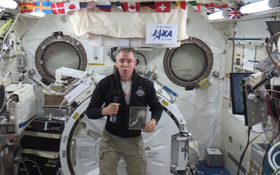 American astronaut Andrew Feustel in a recorded video message from aboard the International Space Station commemorating Holocaust Remembrance Day, April 12, 2018. (Screen capture: YouTube)