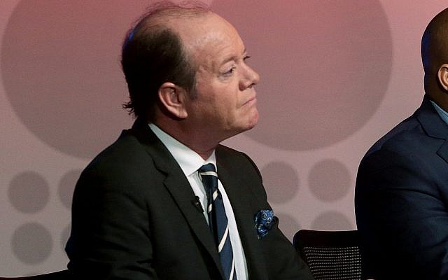 """In this March 2, 2017 photo, Moderator Jamie Allman, host of Allman in the Morning, sits at a City of St. Louis Mayoral Debate filmed at Vue 17, in Richmond Heights, Mo. The conservative commentator who tweeted that he would use """"a hot poker"""" to sexually assault a survivor of a Florida high school shooting resigned from KDNL-TV, a St. Louis TV station. (Cristina M. Fletes/St. Louis Post-Dispatch via AP)"""