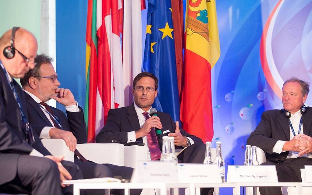 Márton Gyöngyösi speaking as a panelist at the Krynica Economic Forum in Poland. (Courtesy)
