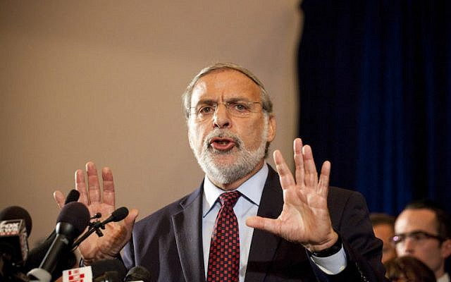 Then-Democratic New York State assemblyman Dov Hikind speaks at a press conference with American and Israeli Jewish leaders and supporters of Israel on September 20, 2011 in New York City.  (Michael Nagle/Getty Images via JTA)