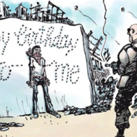 "A cartoon published by Dutch newspaper Volkskrant in April 2018, depicting an IDF soldier shooting a Palestinian on the Gaza Border and spelling ""Happy birthday to me,"" a reference to Israels Independence Day. (Courtesy: Simon Wiesenthal Center)"