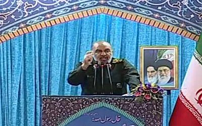 Vice commander of the Iranian Revolutionary Guards Corps, Hossain Salami, threatens Israel in an address in Tehran, Iran, April 20, 2018. (YouTube screenshot)