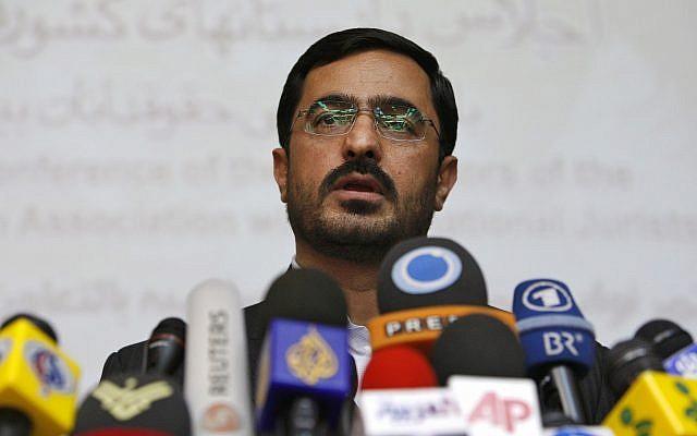 Tehran former prosecutor Saeed Mortazavi speaks to the media at a news conference in Tehran, Iran, on April 19, 2009. (AP Photo/Vahid Salemi)