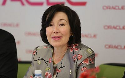 Safra Catz, at Oracle's Petach Tikva offices on April 16, 2018 (Ezra Levy)
