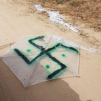 A kite marked with a swastika, flown across the Gaza border into Israel carrying a petrol bomb on April 20, 2018 (IDF spokesman)