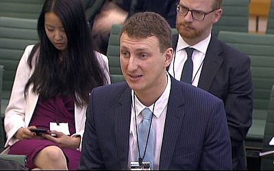 Aleksandr Kogan tells a UK parliamentary  committee about his app, used by Cambridge Analytica to mine Facebook data on April 24, 2018. (Screen capture: YouTube)