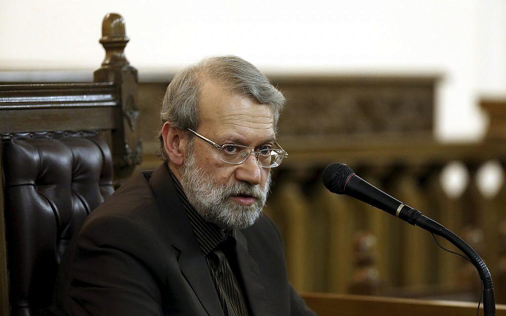 Iranian parliament speaker Ali Larijani speaks during a press conference in Tehran, Iran, March 13, 2017. (AP Photo/Ebrahim Noroozi)