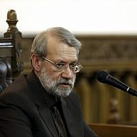 Iranian parliament speaker Ali Larijani speaks during a press conference in Tehran, Iran, March 13, 2017. (AP Photo/Ebrahim Noroozi)