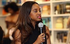 Women's March National Co-Chair Tamika Mallory speaking in New York, April 22, 2017. (Robin Marchant/Getty Images for Hulu via JTA)