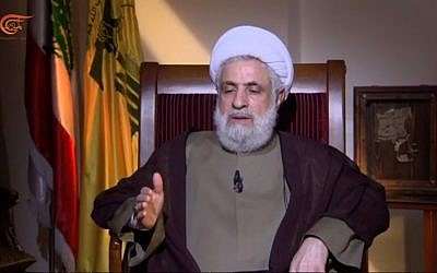 Hezbollah deputy leader Sheikh Naim Qassem in an interview with Lebanese Al Mayadeen TV on April 16, 2018. (Screen capture: YouTube)