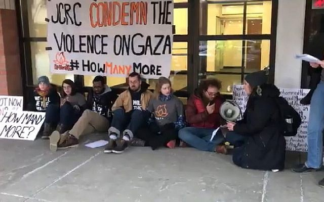 Illustrative: Members of left-wing IfNotNow group protest in New York over IDF response to Gaza demonstrations. (Screen capture: Twitter video)