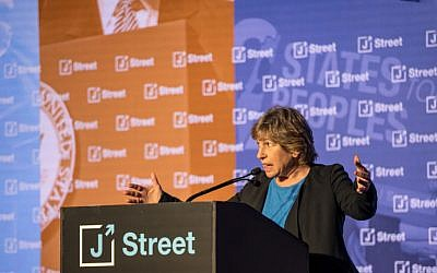 Randi Weingarten, the president of the American Federation of Teachers, speaks on April 14, 2018, at the annual J Street conference, in Washington, DC. (J Street via JTA)