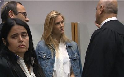 Supermodel Bar Refaeli (c) at the Tel Aviv District Court on August 12, 2017. (Screen capture: Hadashot news)