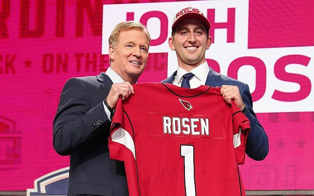 Josh Rosen of UCLA poses with NFL Commissioner Roger Goodell after being picked #10 overall by the Arizona Cardinals during the first round of the 2018 NFL Draft at AT&T Stadium on April 26, 2018 in Arlington, Texas. (Tom Pennington/Getty Images)