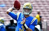 Josh Rosen #3, quarterback of the UCLA Bruins, warms up before the game against the UCLA Bruins at the Rose Bowl on September 9, 2017 in Pasadena, California.  (Photo by Jayne Kamin-Oncea/Getty Images via JTA)