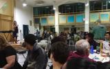 Rabbi Yael Karrie speaking at the the Freedom Seder on Saturday night, March 31, 2018 at Kol Haneshama (Courtesy Kol Haneshama)