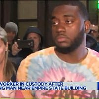 Tyquan Bailey, charged for an attack on Jewish man Jack Gindi, taken into police custody on April 23, 2018. (Screen capture: Pix11 news)